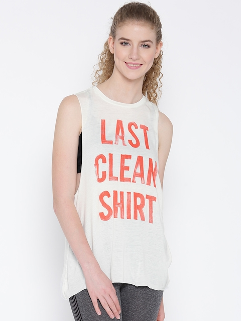 Reebok Women Off-White S Faves Muscle Printed Dance/Yoga A-Line Top