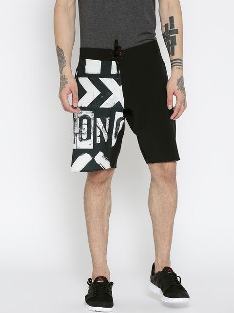 Reebok Men Black AOP Board Printed Training Shorts