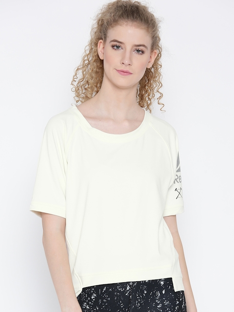 Reebok Women Off-White Novelty Cover-Up Solid Training T-Shirt