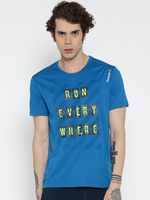 Reebok Men Blue RE SS Printed Round Neck T-shirt