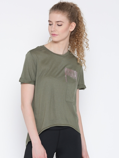 Reebok Women Olive Green D Pocket Solid Round Neck T-Shirt