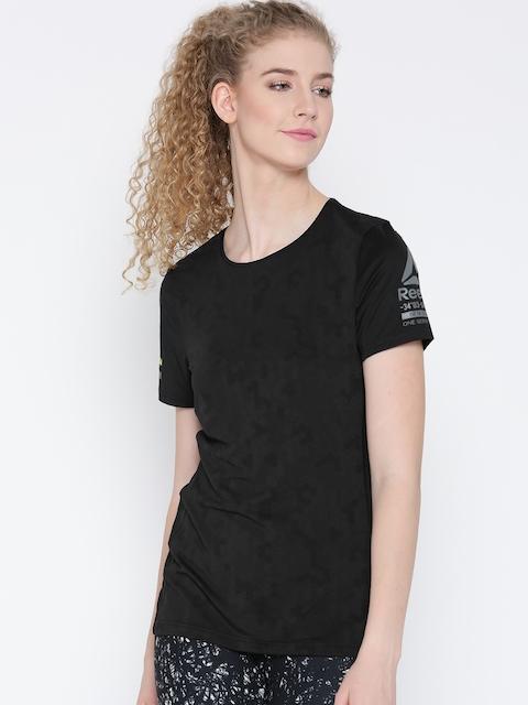 Reebok Women Black OSR ELEV Slim Self-Design Running Slim Fit T-Shirt