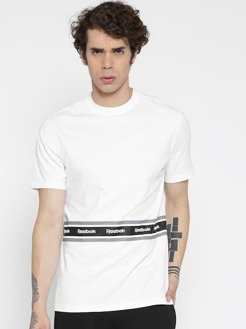 Reebok Classic Men White F Tape Printed Detail Round Neck T-Shirt