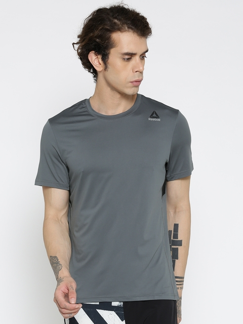 Reebok Men Grey WOR PREM TECH Solid Slim Fit Round Neck Training T-Shirt