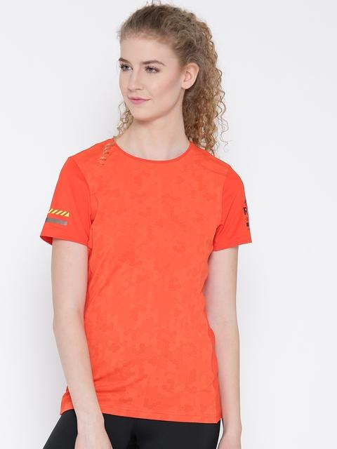 Reebok Women Orange OSR ELEV Self Design Running Slim Fit T-Shirt