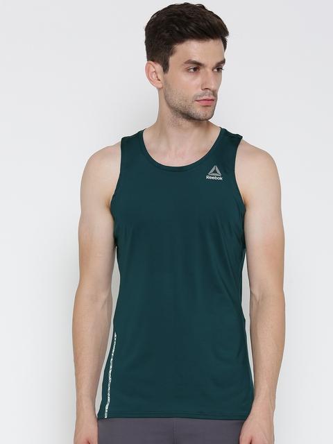 Reebok Men Green OSR SINGLET Solid Round Neck Running T-shirt