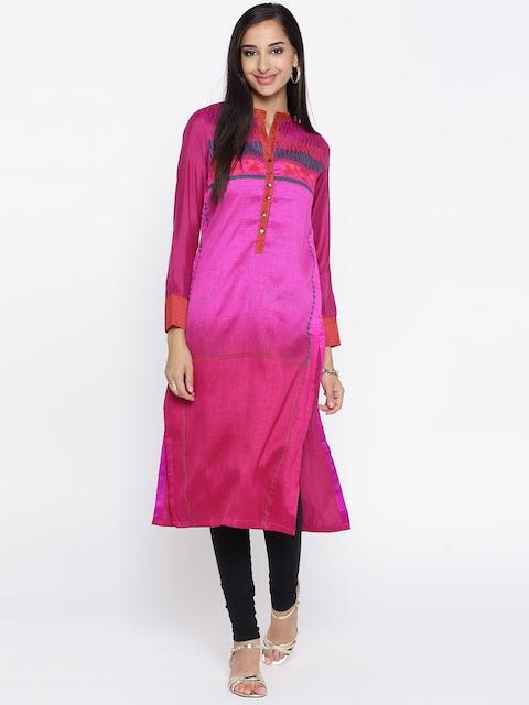 Biba Women Pink Printed Straight Kurta