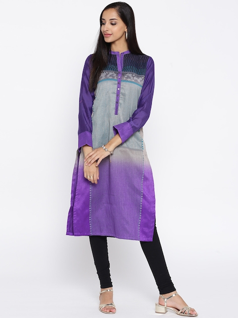 Biba Women Purple Printed Straight Kurta