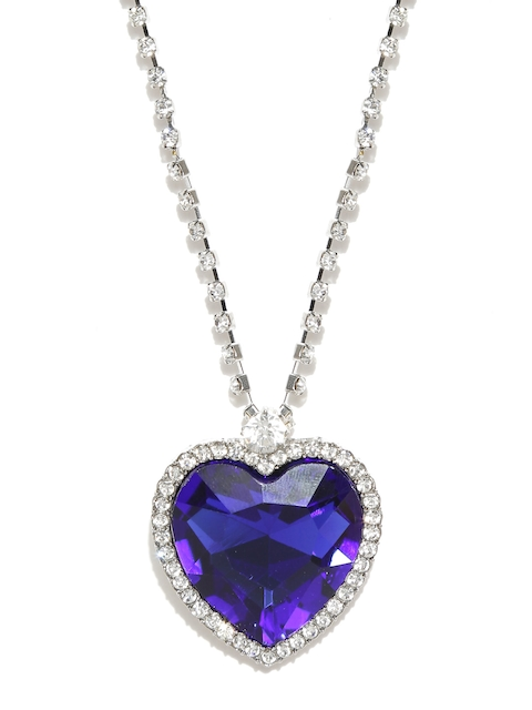 Shining Diva Silver-Toned & Blue Stone-Studded Heart-Shaped Pendant with Chain