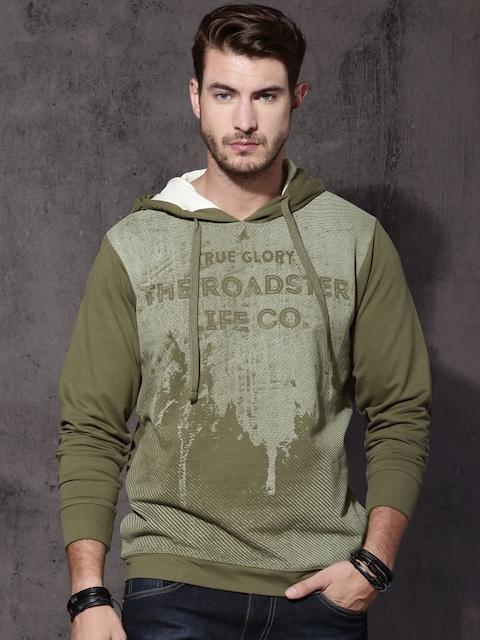 Roadster Men Green Printed Hooded Sweatshirt