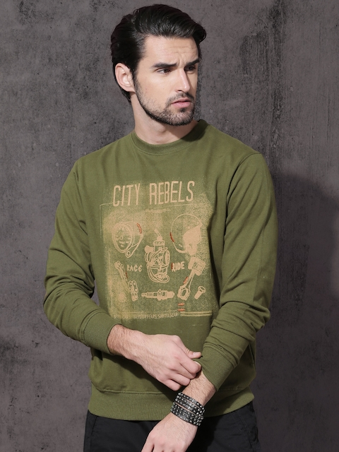 Roadster Men Olive Green Printed Sweatshirt