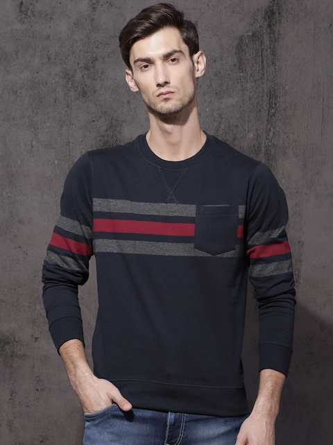 Roadster Men Navy Striped Sweatshirt