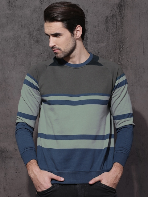 Roadster Men Grey & Teal Blue Striped Sweatshirt
