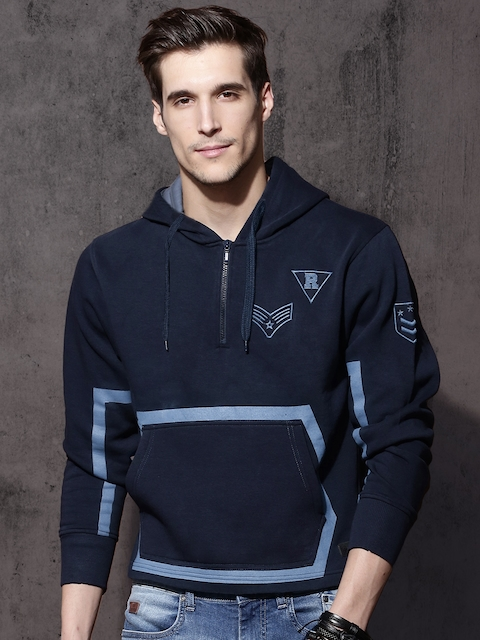 Roadster Men Navy Solid Hooded Sweatshirt