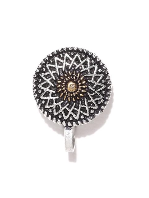 Infuzze Oxidised Silver-Toned Circular Clip-On Nosepin
