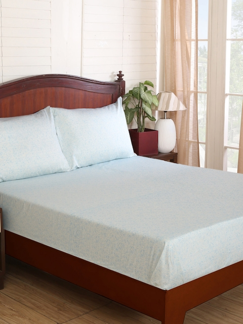 MASPAR Blue Cotton 300 TC Fine Double Bedsheet with 2 Pillow Covers