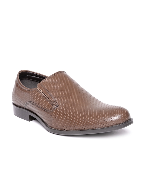 Red Tape Men Brown Textured Leather Semiformal Slip-Ons
