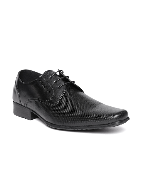 Red Tape Men Black Textured Leather Formal Shoes