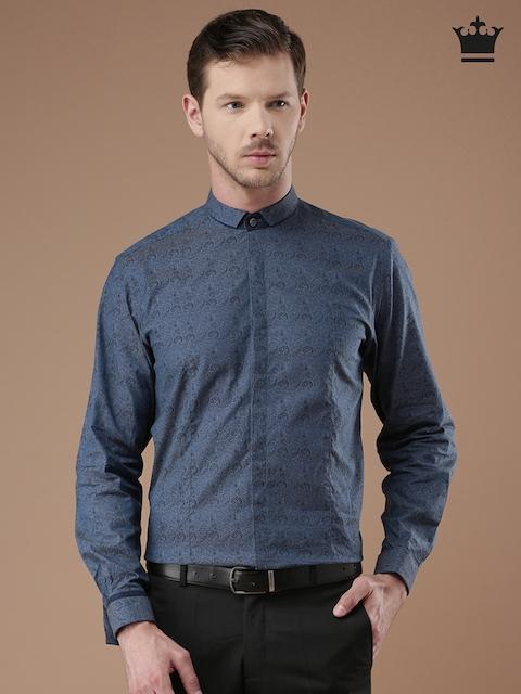 Louis Philippe Men Blue & Black Milano Slim Fit Printed Formal Shirt