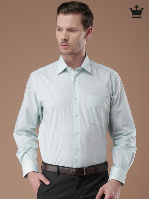 Louis Philippe Sea Green Printed Classic Fit Formal Shirt