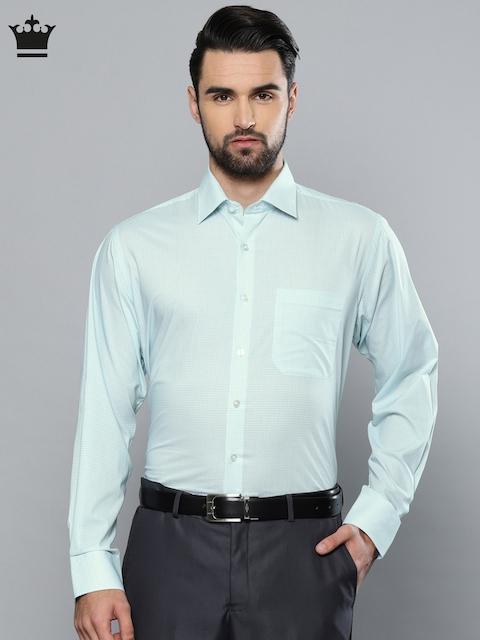 Louis Philippe Men Sea Green Printed Classic Fit Formal Shirt