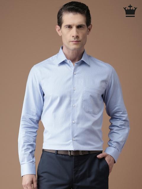 Louis Philippe Men Blue Self Design Milano Slim Fit Formal Shirt
