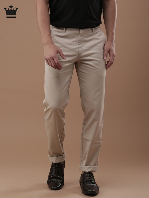 Louis Philippe Men Beige Milano Slim Fit Solid Regular Trousers
