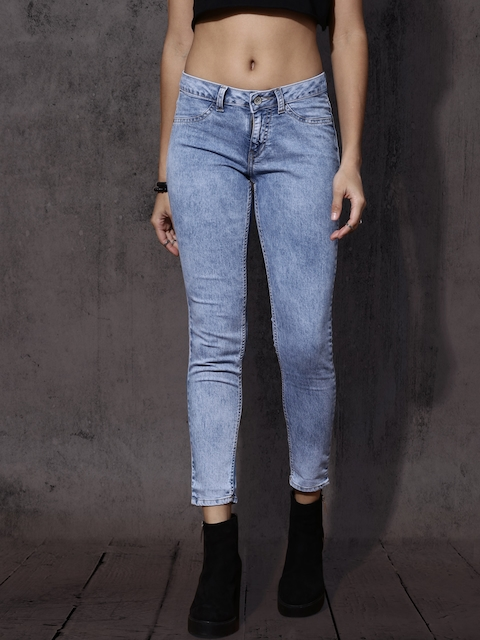 Roadster Women Blue Skinny Fit Mid-Rise Clean Look Stretchable Jeggings