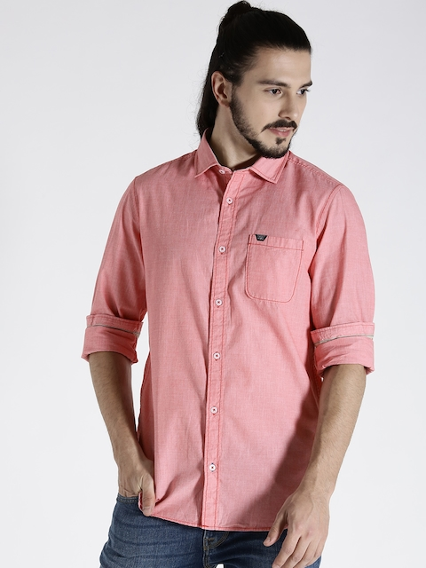 s.Oliver Men Pink Slim Fit Solid Casual Shirt