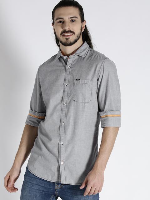 s.Oliver Men Grey Slim Fit Solid Casual Shirt