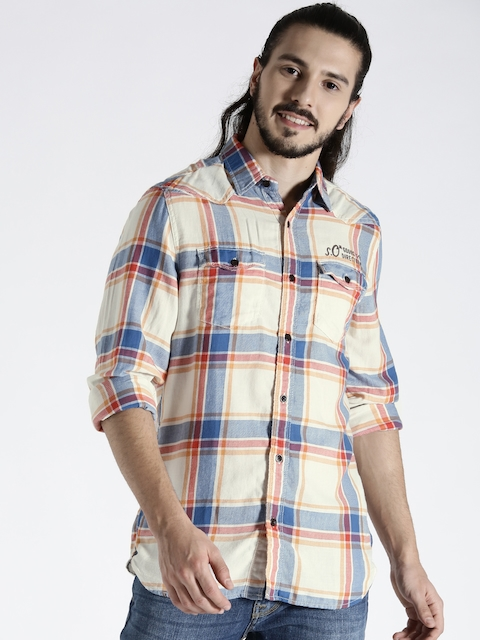 s.Oliver Men Off-White & Blue Slim Fit Checked Casual Shirt