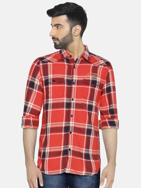 s.Oliver Men Red & Black Slim Fit Checked Casual Shirt