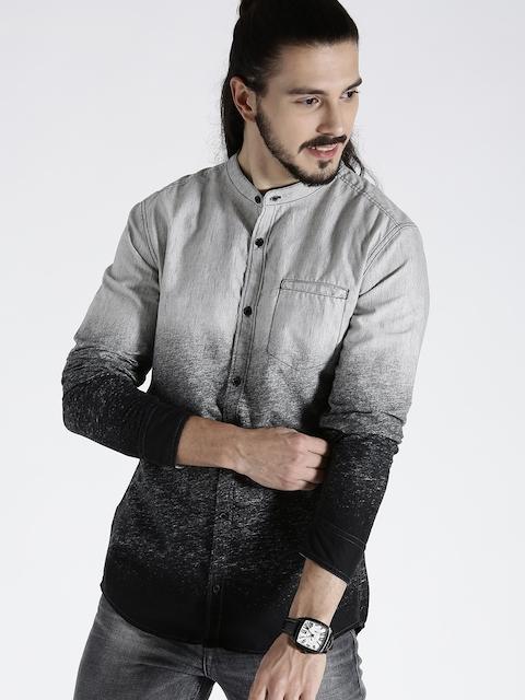 s.Oliver Men Grey & Black Regular Fit Printed Casual Shirt