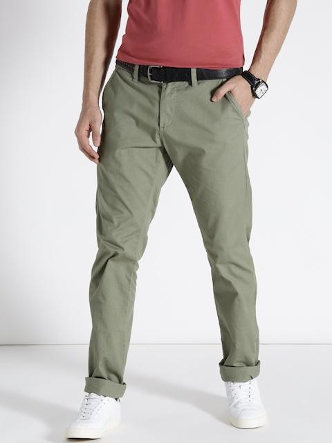 s.Oliver Men Olive Green Slim Fit Solid Trousers
