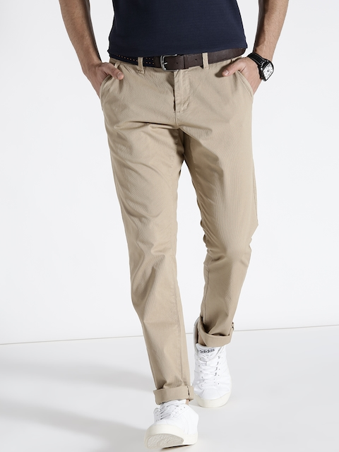 s.Oliver Men Beige Slim Fit Solid Regular Trousers