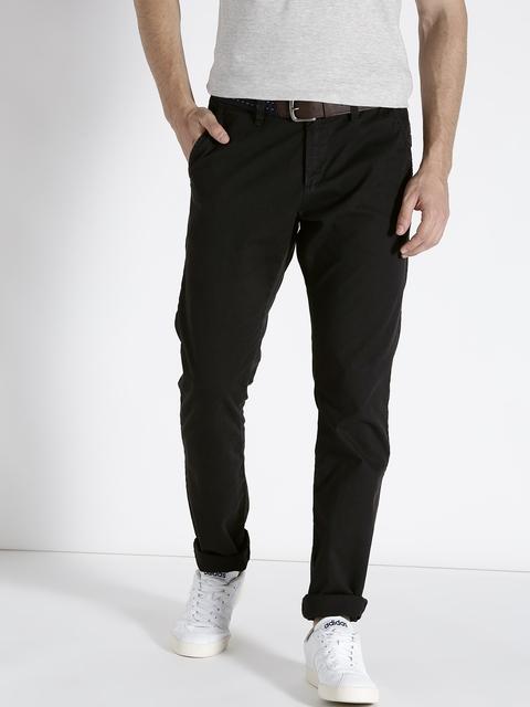 s.Oliver Men Black Slim Fit Solid Regular Trousers
