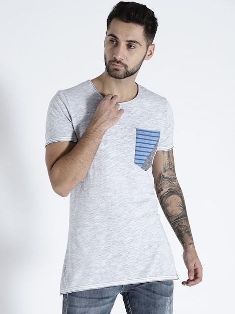 s.Oliver Men Grey Melange Solid Round Neck T-shirt