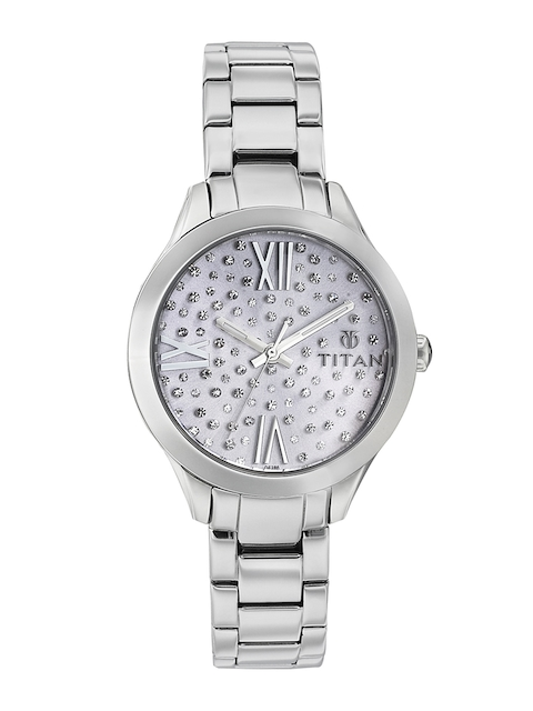 Titan Women Silver-Toned Embellished Analogue Watch 95027SM02J