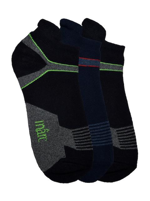 MARC Men Black & Navy Blue Set Of 3 Ankle-Length Socks