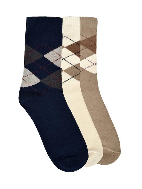 MARC Men Navy Blue & Cream Set Of 3 Above Ankle-Length Socks