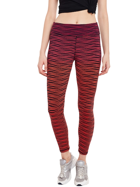Claura Red & Black Printed Tights