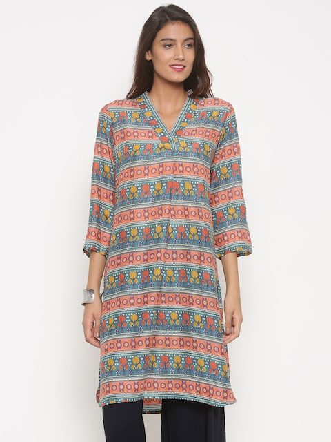 Global Desi Women Pink & Green Printed A-Line Kurta  available at myntra for Rs.719