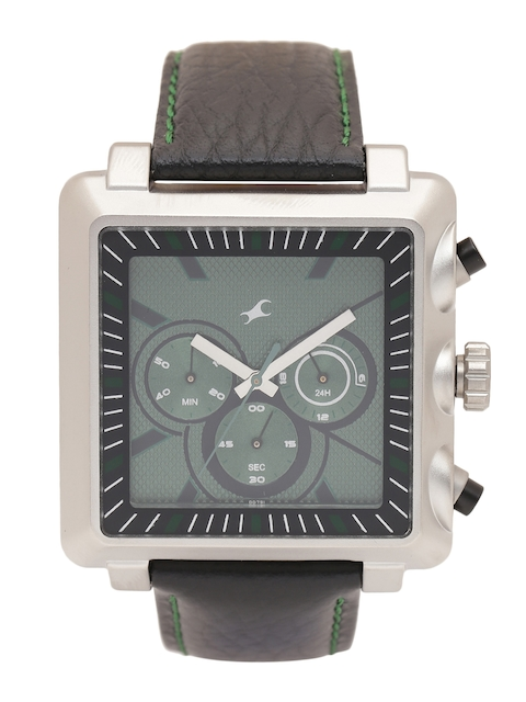 Fastrack Men Green Dial Chronograph Watch 3111SL02