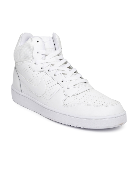 Nike Men White Perforations Leather COURT BOROUGH MID High-Top Sneakers