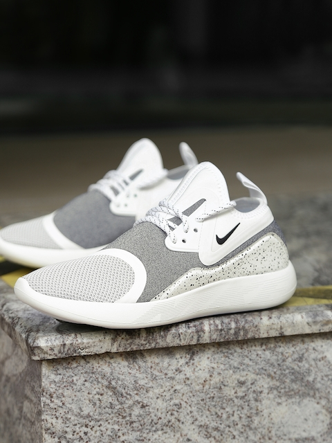 Nike Men White & Grey Printed Canvas LUNARCHARGE ESSENTIAL Mid-Top Sneakers