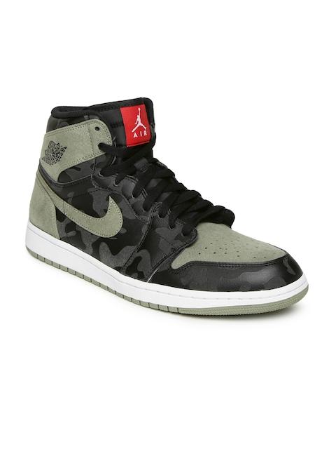 Nike Men Black Leather High-Top AIR JORDAN 1 RETRO Basketball Shoes