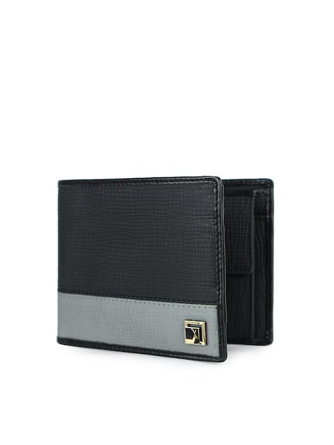 Da Milano Men Black & Grey Colourblocked Leather Two Fold Wallet