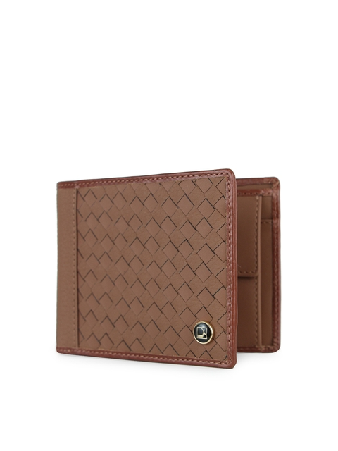 Da Milano Men Brown Basketweave Textured Leather Two Fold Wallet