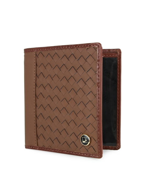 Da Milano Men Brown Textured Leather Two-Fold Wallet