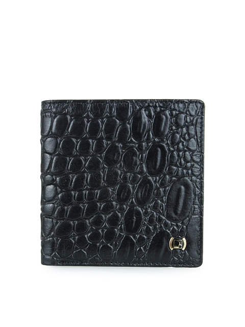 Da Milano Men Black Croc-Textured Two-Fold Wallet